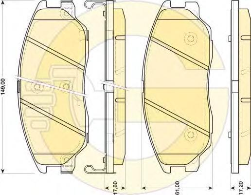 6134659 Колодки тормозные HYUNDAI TERRACAN 01-/KIA OPIRUS 03- передние