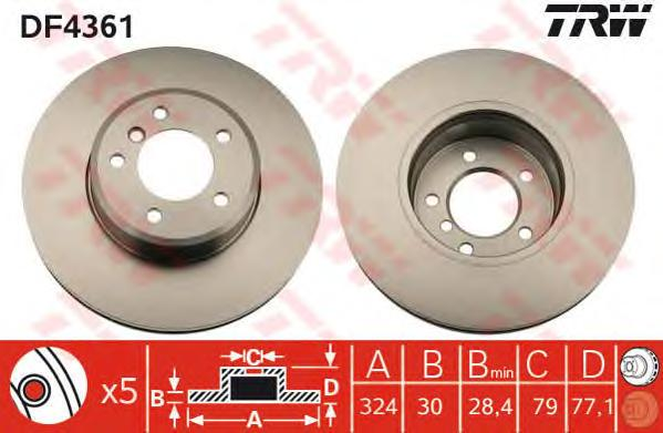 DF4361 Диск тормозной BMW E60/61 2.0-3.0 03- передний вент.