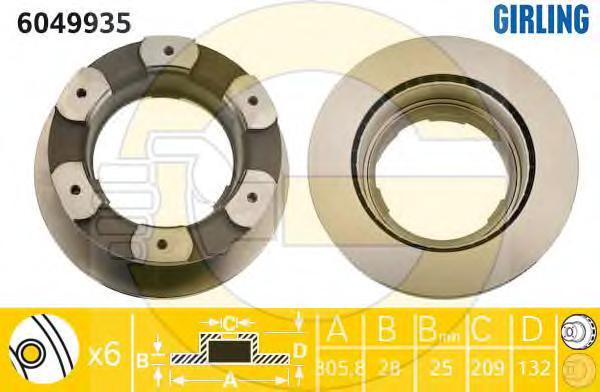 6049935 Диск тормозной IVECO DAILY IV 06- задний вент.D=306мм.