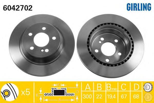 6042702 Диск тормозной MB W211/W212/W204/W219 задний