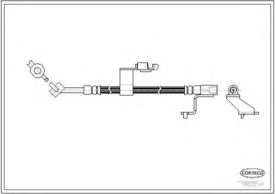 19032141 Шланг тормозной FORD: ESCORT CLASSIC Turnier 1.6 16V 99-00, ESCORT VI 1.4/1.6 i 16V/1.8 D/1.8 TD 92-95, ESCORT VI седан