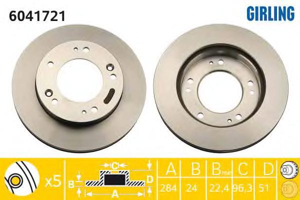 6041721 Диск тормозной KIA SPORTAGE 2.0 94-03 передний