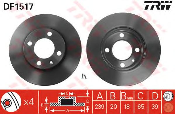 DF1517 Диск тормозной передн AUDI: 80 76-78, 80 79-86, 80 86-91, COUPE 81-88,  SEAT: CORDOBA 93-99, CORDOBA Vario 96-, CORDOBA х