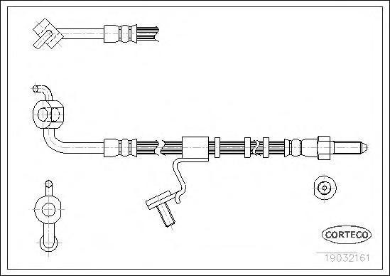 19032161 Шланг тормозной FORD: ESCORT -91 Express 1.3/1.4/1.8 D 90-94, ESCORT V 1.3/1.4/1.6/1.8 D 90-92, ESCORT V кабрио 1.4/1.6
