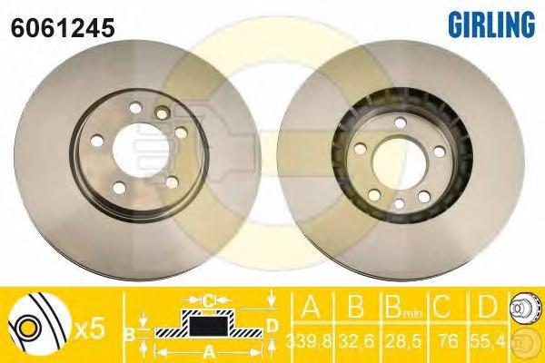 6061245 Диск тормозной VW PASSAT 08-/GOLF VII передний 5 отв. вент.D=340мм.