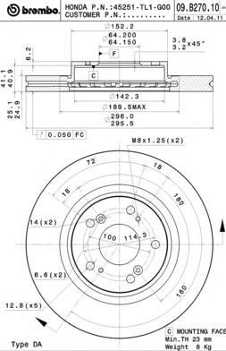 09B27010 Диск тормозной HONDA ACCORD 2.0-2.2 08- передний вент.D=296мм.