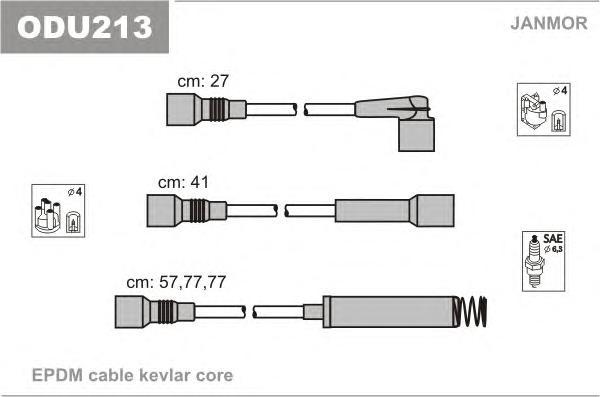 ODU213 Комплект проводов зажигания OPEL: CALIBRA A 90-97, KADETT E 90-91, KADETT E ХЕЧБЭК 85-91, KADETT E УНИВЕРСАЛ 85-91, VECTR