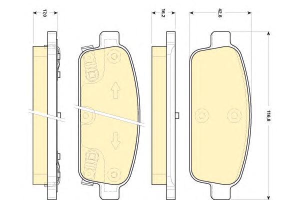 6118449 Колодки тормозные CHEVROLET CRUZE 09-/ORLANDO 11-/OPEL ASTRA J 10- задние