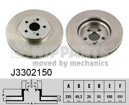 J3302150 Диск тормозной TOYOTA AVENSIS 2.0-2.4 03- передний вент.