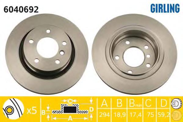 6040692 Диск тормозной BMW 3 E46 318-328 98-06 задний D=294мм.
