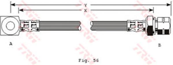PHD243 Шланг тормозной передн прав OPEL: KADETT E 86-, ASCONA C 86-, VECTRA