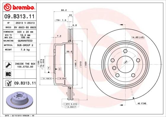 09B31311 Диск тормозной BMW E60/E61 525x-530x 05- задний вент.D=320мм.
