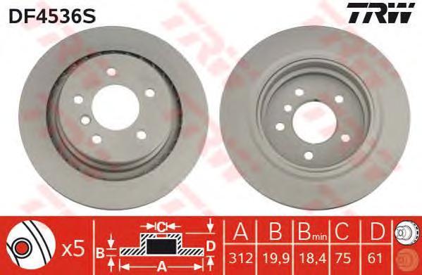 DF4536S Диск тормозной BMW M3 E36 3.0-3.2 92-03 задний правый