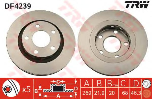 DF4239 Диск тормозной задн AUDI: A6 99-05, A6 Avant 99-05, A8 96-02