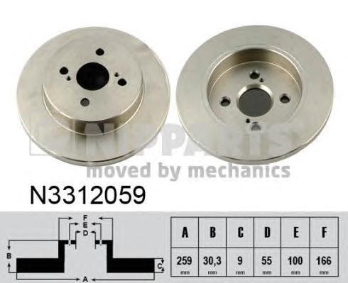 N3312059 Диск тормозной TOYOTA YARIS 06-/IQ 09- задний D=259мм.