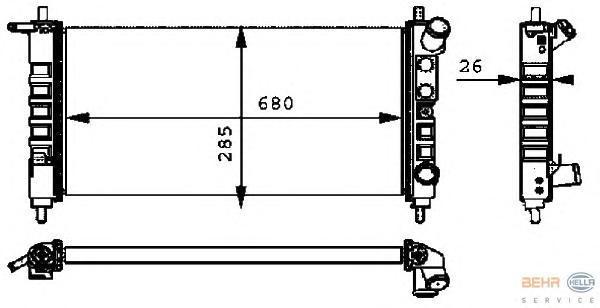 8MK376712701 Радиатор системы охлаждения OPEL: CORSA B (73_, 78_, 79_, F35_) 1.0 i 12V/1.2 i 16V 93-00  VAUXHALL: CORSA 1.0 i 12