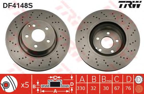 DF4148S Диск тормозной MERCEDES W220 320-500/C215 500-600 передний D=330мм.