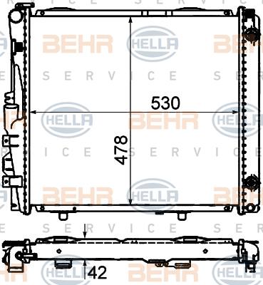 8MK376712421 Радиатор системы охлаждения MERCEDES-BENZ: CABRIOLET (A124) 300 CE-24 (124.061) 91-93, COUPE (C124) 300 CE-24 (124.