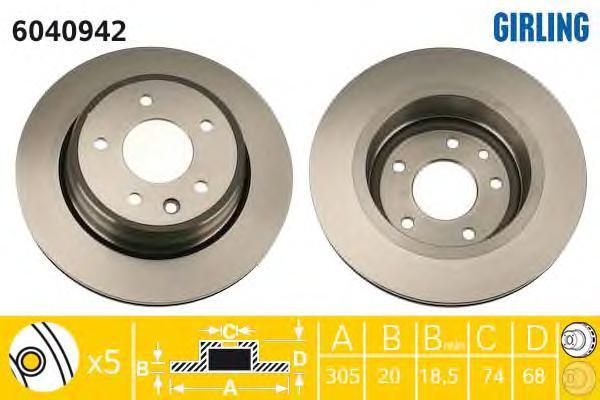 6040942 Диск тормозной JAGUAR XJ 89-03/XK8 96- задний вент.D=305мм.