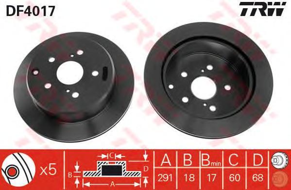 DF4017 Диск тормозной TOYOTA PREVIA 90-00/SUPRA 86-93 задний вент.D=291мм.