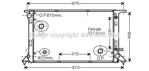 AI2291 Радиатор двиг Audi A4/A5 2,7-3,2 08-