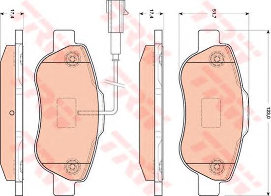 GDB1746 Колодки тормозные FIAT 500 07-/DOBLO 01-/PANDA 09-/QUBO 08- передние