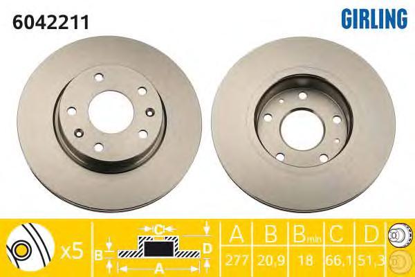 6042211 Диск тормозной LANDROVER FREELANDER 1.8-2.5 98-06 передний