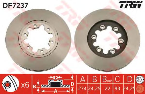 DF7237 Диск тормозной FORD RANGER 99-/MAZDA B-SERIE 98- передний вент.D=273мм.