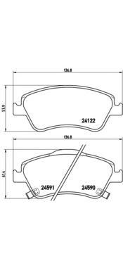 P83079 Колодки тормозные TOYOTA AURIS 1.33-2.2 07- (Великобритания) передние
