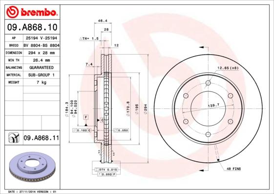 09A86810 Диск тормозной MITSUBISHI L200 05- передний вент.D=293мм.