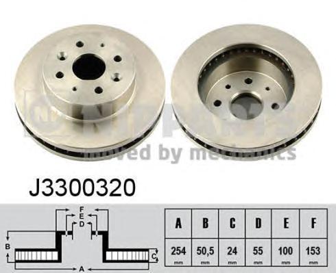 J3300320 Диск тормозной KIA RIO 00-05 передний вент.D=254мм.