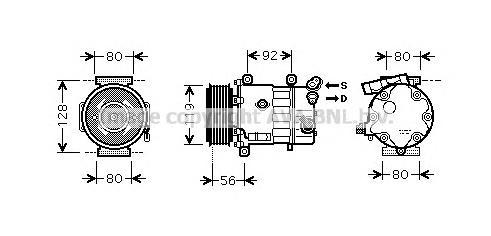 CNAK255 Компрессор кондиционера CITROEN: BERLINGO 1.6 VTI 120 08-, BERLINGO ФУРГОН 1.6 HDI 90/1.6 VTI 120 08-, C3 II 1.1 BIFUEL/