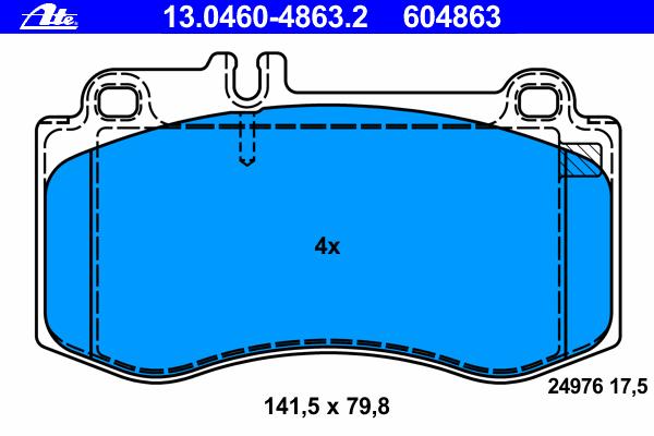 13046048632 Колодки тормозные дисковые передн, MERCEDES-BENZ: CLS CLS 350 BlueTEC 4-matic 11-, CLS Shooting Brake CLS 350/CLS 35