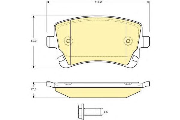 6115161 Колодки тормозные AUDI A4/A6/A8/VW MULTIVAN/T5/PHAETON задние