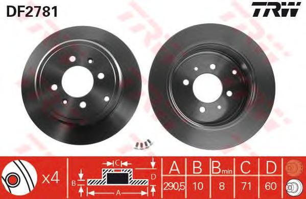 DF2781 Диск тормозной PEUGEOT 406 95-04 задний
