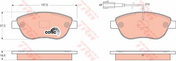 GDB1655 Колодки тормозные FIAT STILO 0107/DOBLO 06/PUNTO 05 с датчиком передние