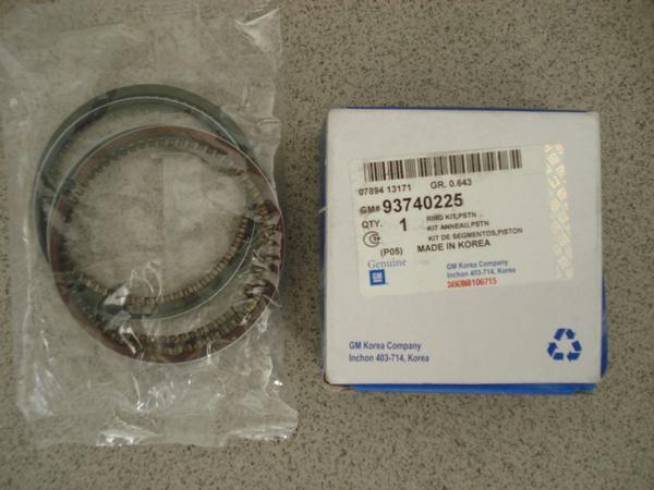 93740225 Кольца поршневые CHEVROLET LACETTI STD 1.6 DOHC на 4порш.