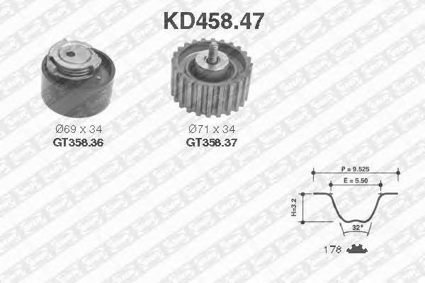 KD45847 Комплект ремня ГРМ FIAT DUCATO 2.3D 02-