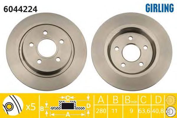 6044224 Диск тормозной FORD FOCUS 04-/08-/VOLVO C30/C70 задний