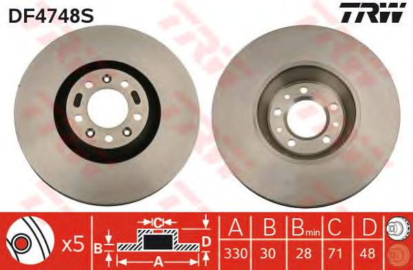DF4748S Диск тормозной CITROEN C5 08-/C6 05-/PEUGEOT 407 04-/607 00- перед. вент.D=330мм
