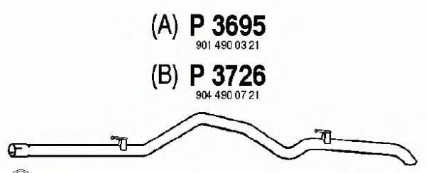 P3726 Трубопровод выпускной MB SPRINTER 2.3 95-06