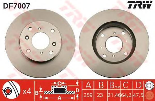 DF7007 Диск тормозной HONDA ACCORD 1.6-2.3 98-03 передний вент.D=260мм.