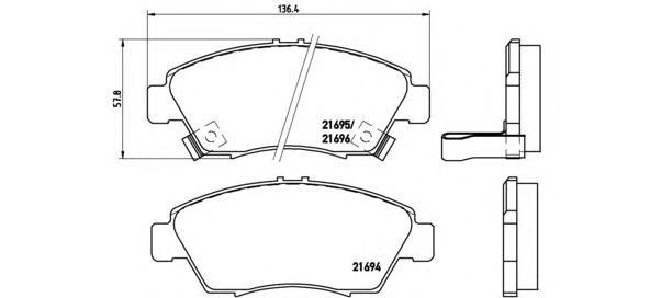 P28023 Колодки тормозные HONDA CIVIC 91-05 передние