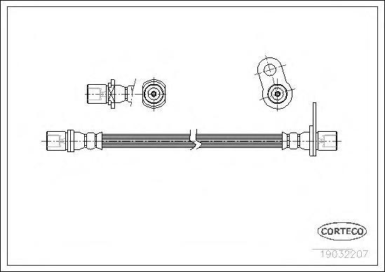 19032207 Шланг тормозной TOYOTA: CARINA E 1.6/1.6 16V/1.6 GLI/1.8/2.0 D/2.0 GLI/2.0 TD/2.0 i 92-97, CARINA E Sportswagon 1.6 GLI