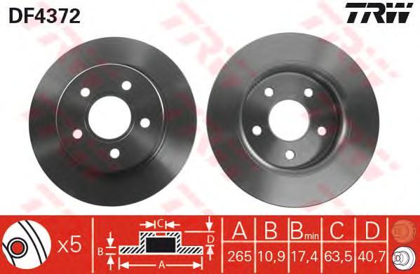 DF4372 Диск тормозной FORD FOCUS II 04/C-MAX 1.6/1.8/2.0/2.0D 04 задний
