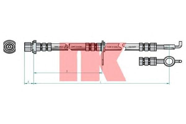 8545151 Шланг тормозной TOYOTA COROLLA E12 1.6-2.0 02- 595мм передний