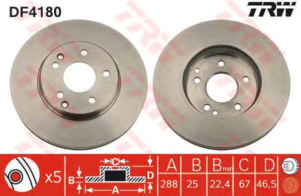 DF4180 Диск тормозной MERCEDES W202/W203/W210/R170 2.0-3.0 передний вент.