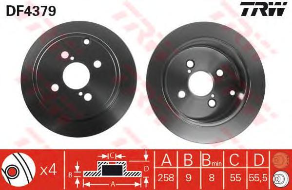 DF4379 Диск тормозной TOYOTA COROLLA (E12) 1.4-1.8 02- задний