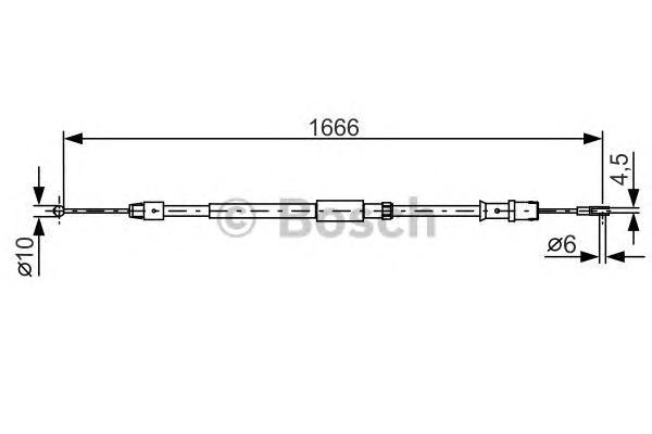 1987482032 Трос ручного тормоза MB SPRINTER/VW CRAFTER 1666мм