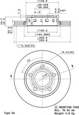 09A59710 Диск тормозной AUDI A4 95-01/VW PASSAT 00-05 задний вент.D=256мм.